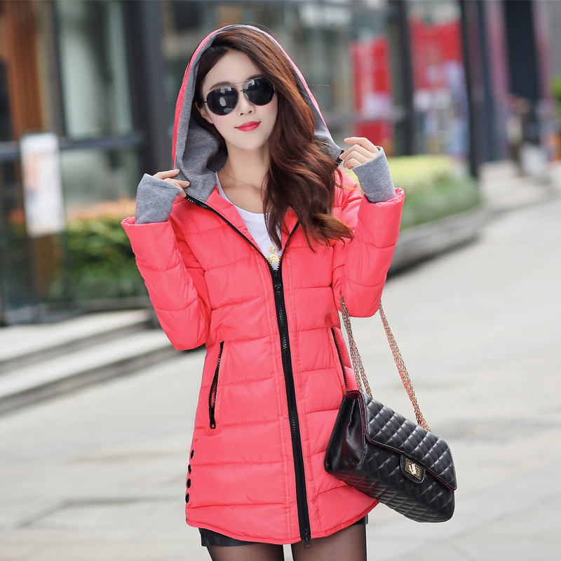 12 Colors Women Plus Size Female Hoodie Hooded Autumn Winter Long Sleeve Down Parka Slim Casual Quilted Chaquetas Jacket Coat 5
