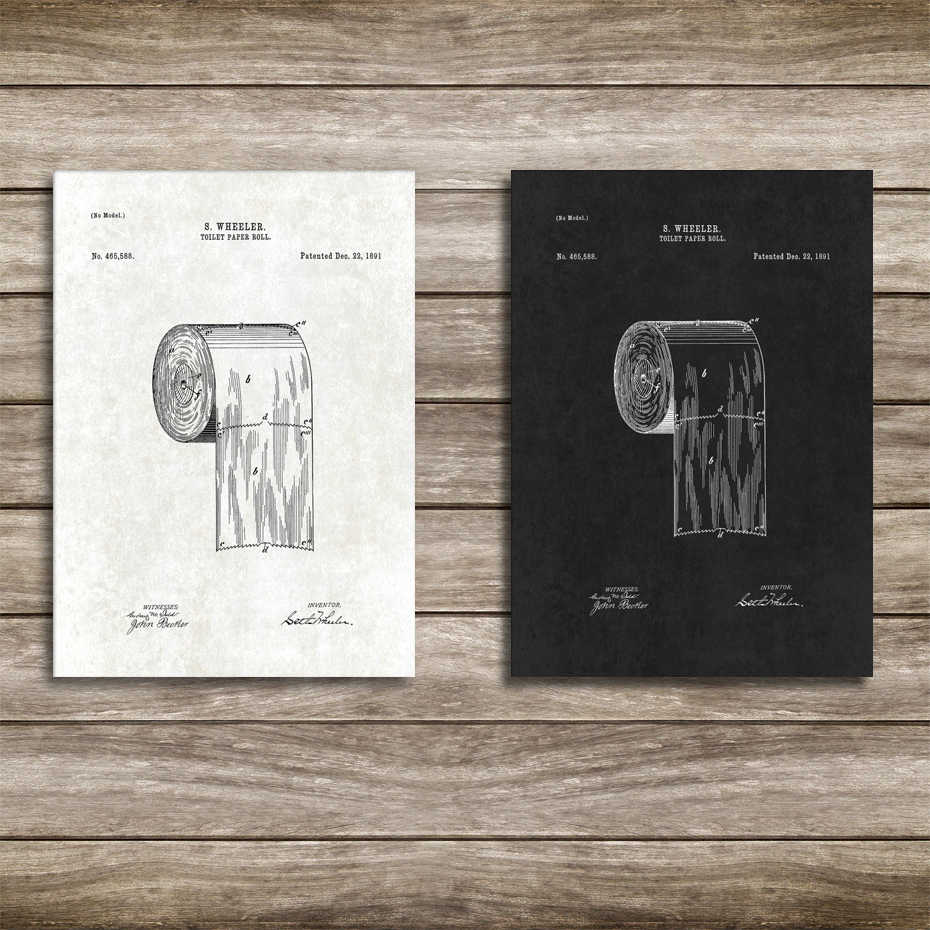 Vintage Toilet Paper Roll Patent Bathroom Wall Art Canvas Paintings Technology Posters Diy Photo Framed Wall Prints Home Decor Painting Calligraphy Aliexpress
