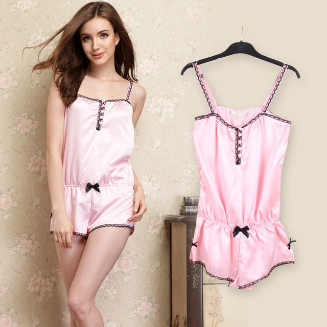 Female summer pajamas female models sexy camisole piece tracksuit pants  suit woman women pink Pyjamas 1c5f473ae