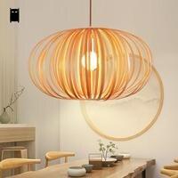 Wood Pumpkin Shade Pendant Light Fixture Nordic Scandinavian Art Hanging Ceiling Lamp Avize Luminaria Design Dining