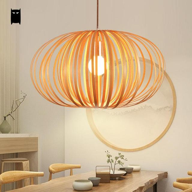 wood pumpkin shade pendant light fixture nordic scandinavian art