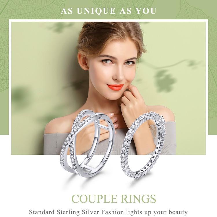 HTB1u2cFXJfvK1RjSspoq6zfNpXaT BAMOER 2pcs Authentic 925 Sterling Silver Dazzling CZ Geometric Finger Rings for Women Wedding Engagement Jewelry anel SCR463