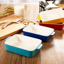 Assiette en céramique cuisson fromage, casserole rectangulaire pour poissons riz cuit au four à micro-ondes