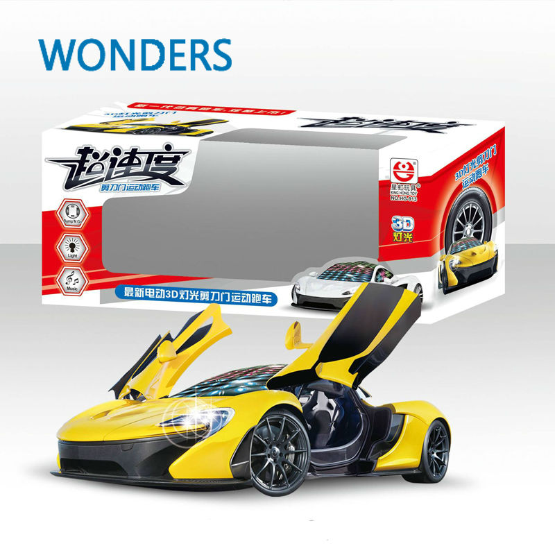 hot wheels stunning led universal music sport car toy gimbal wheel automatic door open car toy