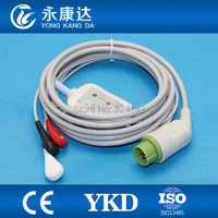 Biolight one piece series patient ECG cable with 3LD,12pin/AHA ECG Snap,CE&ISO13485