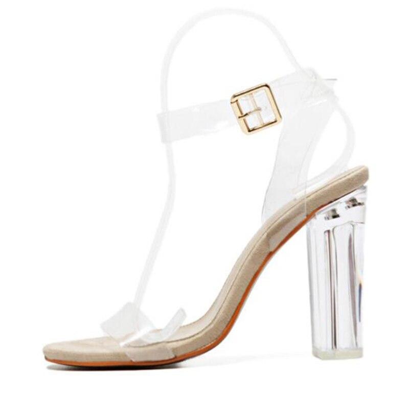HTB1u2cXj vI8KJjSspjq6AgjXXaA 2018 Women Sandals Plus Size 35-41 Transparent PVC High Heels Shoes Woman Star Style Ankle Strap Gladiator Sandals Women Shoes