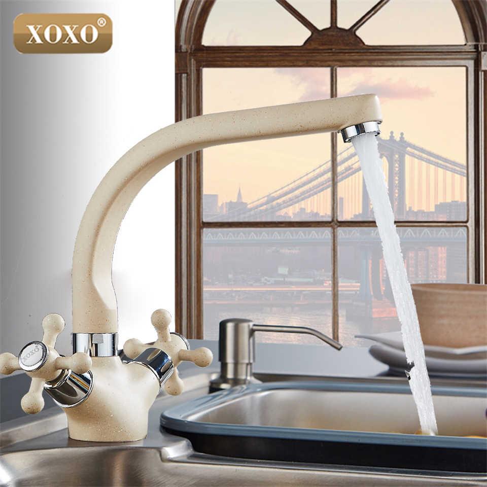 XOXO キッチン蛇口 360 Rotatio ダブルハンドルスプレー塗装銅の台所の蛇口コールドとホット水ミキサータップ 3302