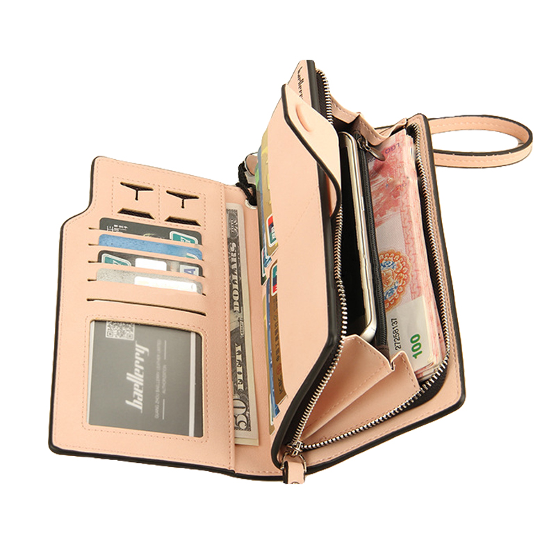 Baellerry Purse Leather Wallet Women Long Pink Woman Wallets Korean Style Brand Clutch Female Zipper Coin Phone Bag Lady Purses brand double zipper genuine leather men wallets with phone bag vintage long clutch male purses large capacity new men s wallets