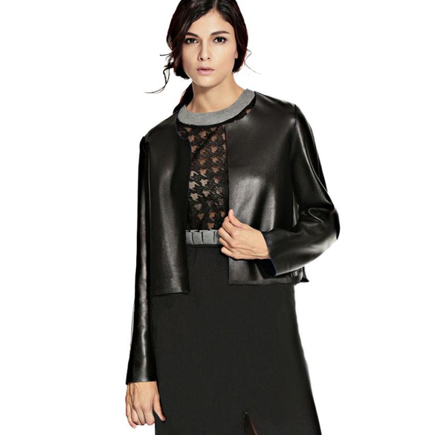 snowsong #4001 Winter Warm Women Faux Collar Short Coat Leather Jacket Parka Overcoat Outwear
