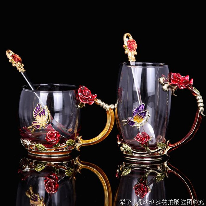 Design Tassen Classical Crafted Enamel Glass Tea Cup With Rose Butterfly
