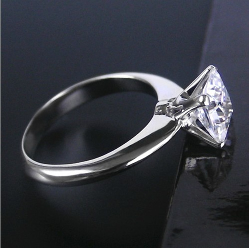 Vintage 2Carat Princess Cut Synthetic Diamonds Ring For Girl Pure ...