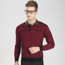 Autumn newest soild color casual men turndown collar knit sweater with buttons