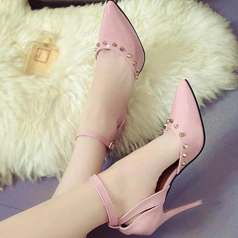 Punta Remache Alto Delgada Pu Tacón Zapatos Sandalias Sexy Cuero Las Plata Rosa Rosado Bling Bombas De Hebilla Moda 2019 plata Mujeres Nueva Correa qSawTO7acf