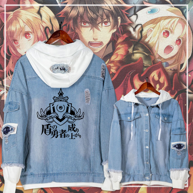 2019 Anime Casual Jacket Jeans Coat The Rising of the Shield Hero Teen Boy Girls Autumn Hooded Sweatshirt Fashion Denim Outwear