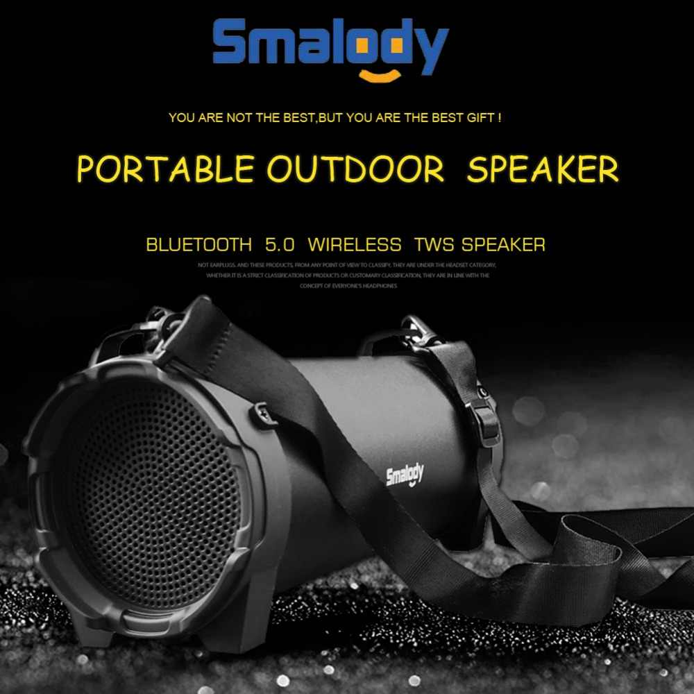 Smalody głośnik Bluetooth przenośne bezprzewodowe głośniki na zewnątrz z pasek do noszenia wbudowany USB, gniazdo karty tf, Aux najlepiej na imprezę
