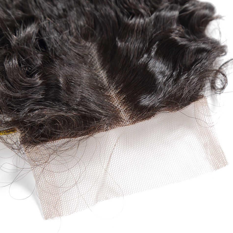Rosabeauty derin dalga İnsan saç paketler kapatma ile Frontal 8 ila 30 inç brezilyalı örgü demetleri ile dantel kapatma Remy saç