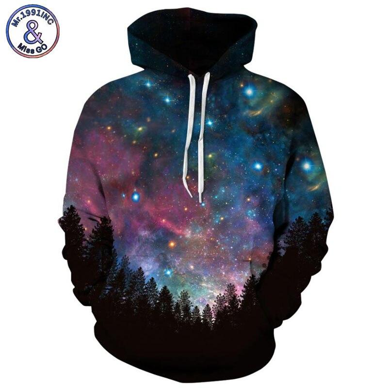 Mr.1991inc 2018 Новый горячий темноте звёздное небо 3d толстовки Для мужчин Толстовка По ...
