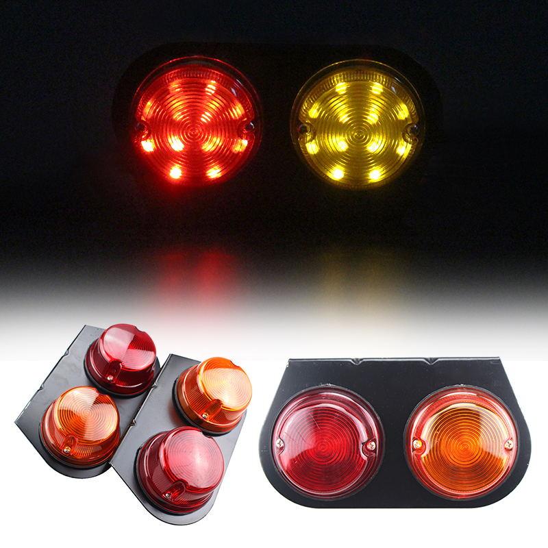 1Pair Bulls Eye Iron LED Tail Lamp Red Yellow Stop Turn Signal Lights for 12V Truck Trailer Lorry Van 18.5CM