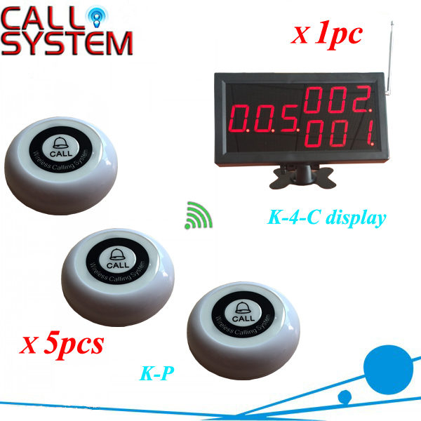 Customer service paging call calling system for pub bars (1pc Numeric monitor and 5 call bells ) wireless call calling system waiter service paging system call table button single key for restaurant model p 200cd o1
