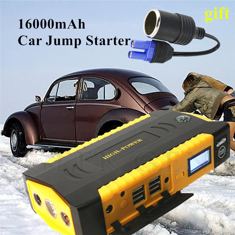 High Capacity 16000mAh Car Charger For Car Battery Booster 600A 12V Car Jump Starter Portable Starting Device Power Bank Buster
