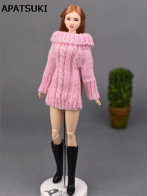 Accessoires De Poupée Rose Pull Tissé Tricoté à La Main Pour Poupée Barbie Hauts Vêtements De Robe De Manteau Cadeaux Pour Filles Enfants Jouet