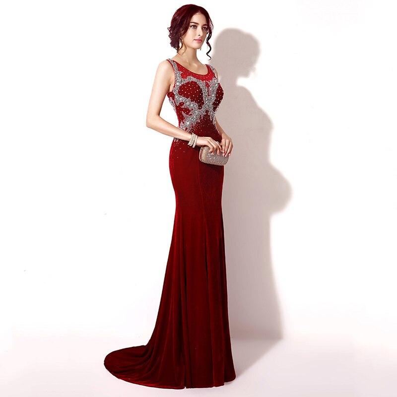 a9f671d3fbb 2017 élégant bourgogne longue sirène robes de soirée avec cristal perles  velours sans manches mode femmes robes de soirée XU033 dans Robes De Soirée  de ...