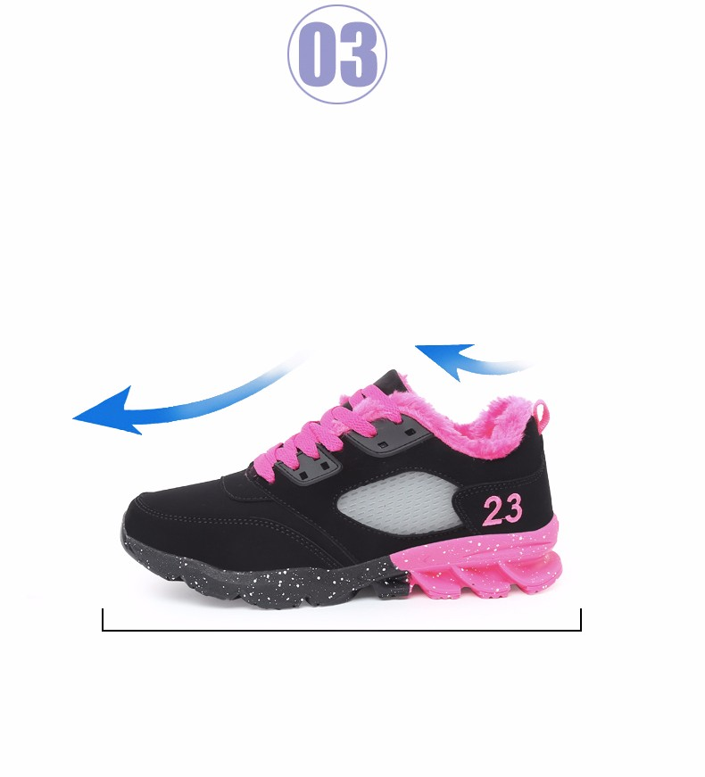 2017 Fashion Winter Women Casual Shoes Plush Warm Sport Low Top Women Shoes Black Pink Breathable Lace Up Woman Trainers YD165 (8)