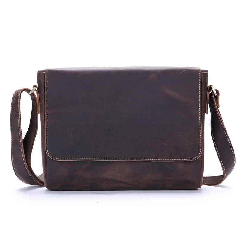 IPad Shoulder Bags Men Vintage Genuine Crazy Horse Leather Messenger Classic Crossbody Male Flap pocket Portfolio
