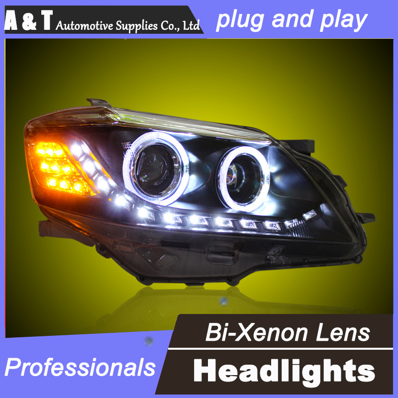 car styling For Toyota Camry headlight assembly angel eyes 2009-2011 For Camry bi xenon lens h7 with hid kit 2 pcs 2pcs purple blue red green led demon eyes for bixenon projector lens hella5 q5 2 5inch and 3 0inch headlight angel devil demon