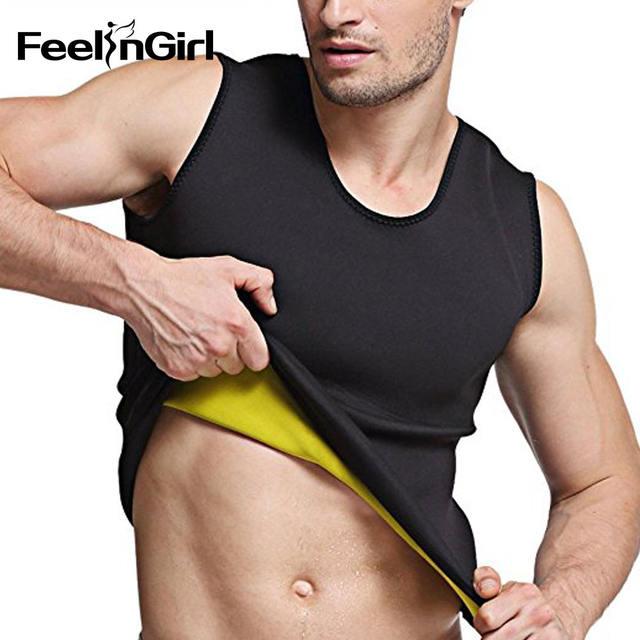 Feelingirl Mens Hot Sweat Body Shaper Vest Tummy Fat Burner Slimming Sauna Tank Top Weight Loss Shapewear Black-C5