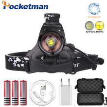 цены LED headlamp XHP70.2 Rechargeable Headlight 65000lm power Led headlamp flashlight torch zoom Head light  for Camping fishing