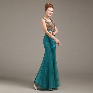 Image 3 - Robe de soiree 2020 V צוואר חרוזים ארוך עם אפליקציות שמלות בת ים ערב שמלות vestido דה festa שמלות נשף מפלגת שמלות
