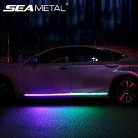1 juego 2 uds coche puerta Streamer luces a prueba de agua coche Flexible RGB tira de luz lámpara LED con 12V USB cigarrillo coche accesorios