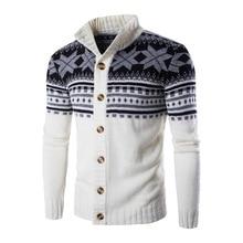 Мужской кардиган, свитера, Осенний теплый Рождественский свитер, Мужская модная куртка с принтом, пальто, повседневное вязаное пальто со стоячим воротником