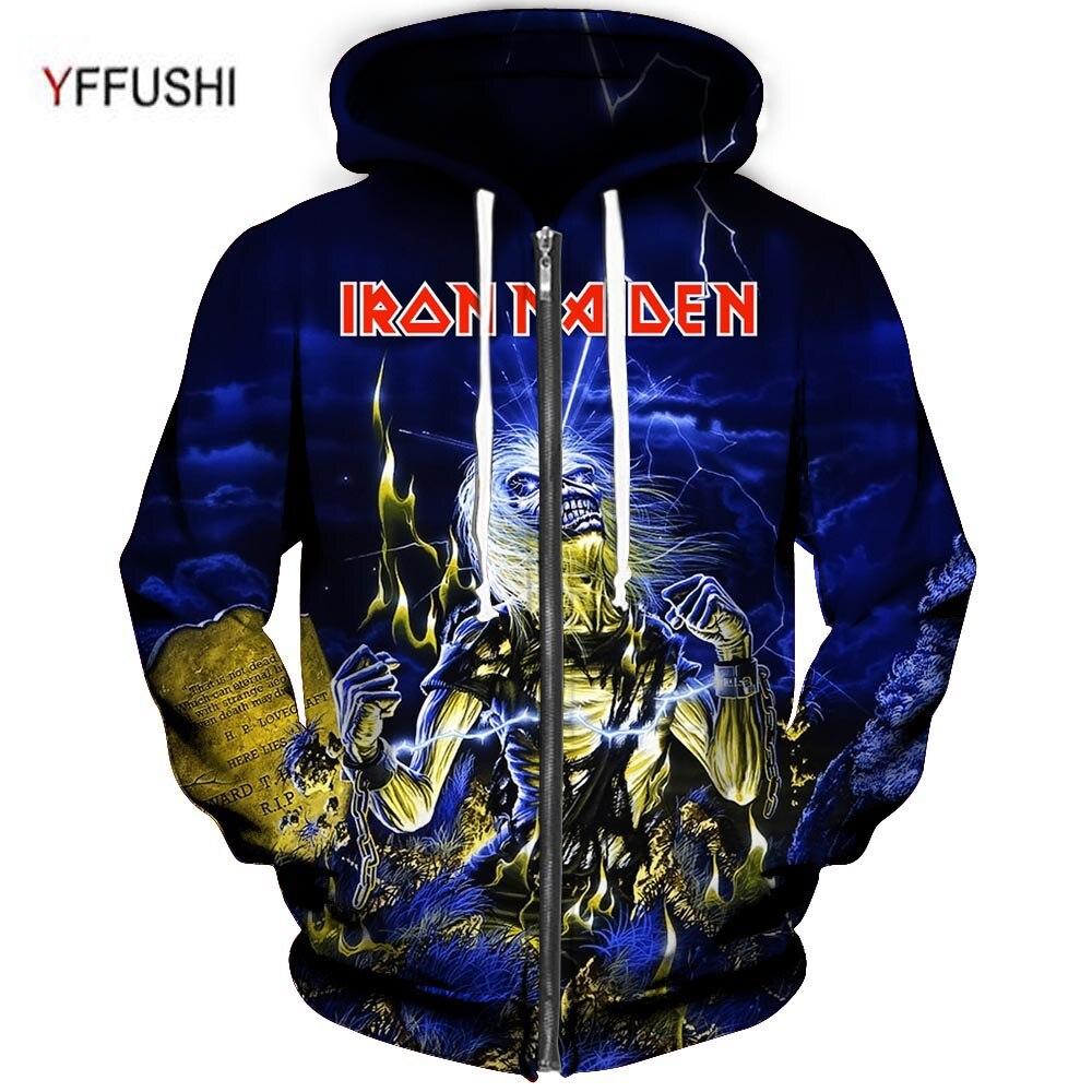 YFFUSHI мужской Костюмы Мода Группа серии 3d печать толстовки Для мужчин Iron Maiden 3d печати с капюшоном куртка на молнии Для мужчин плюс Размеры 5XL