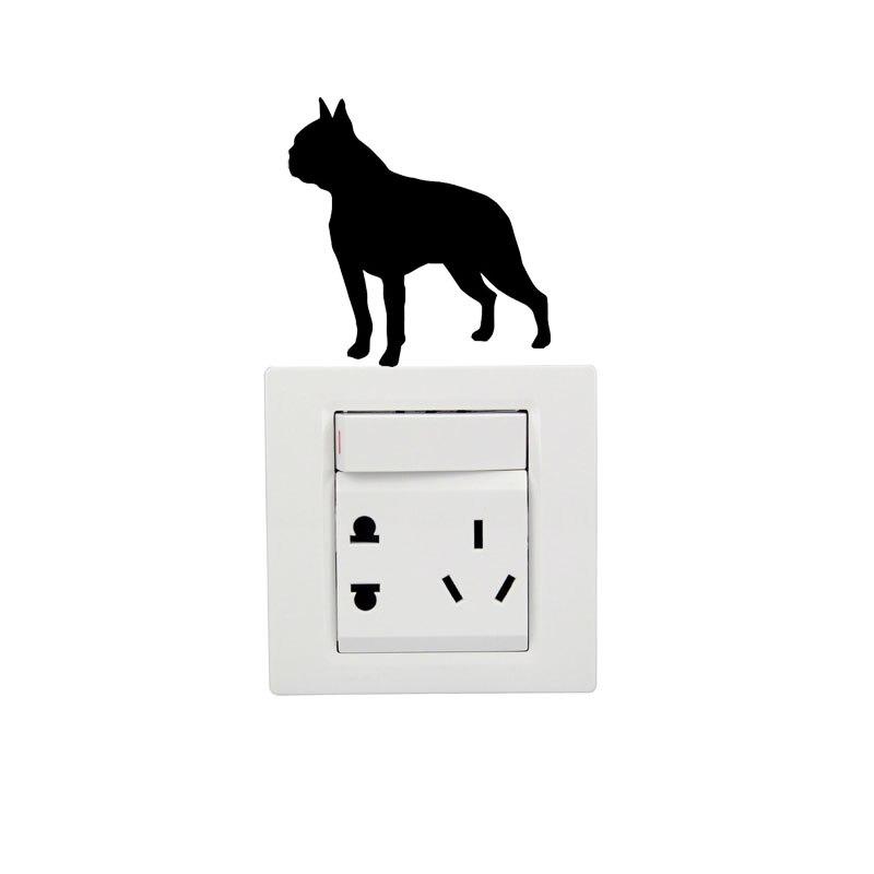 8b9ecb3c2e6a2c Boston Terrier Kreatywny Moda Cartoon Przełącznik Naklejki Naklejki Ścienne  Winylowe 2SS0215