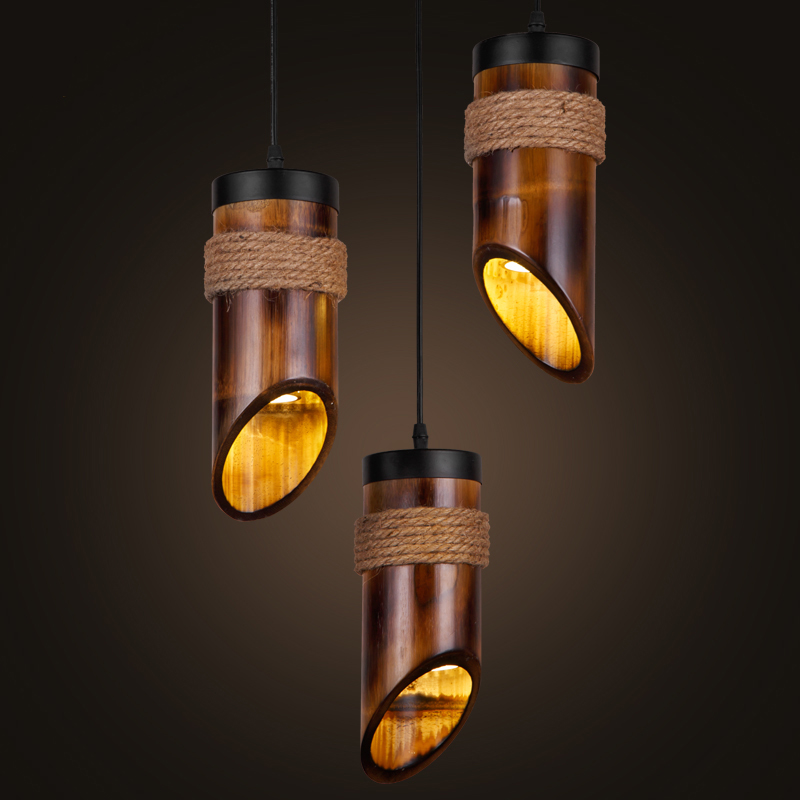 industrial retro led pendant light cord bamboo shade e27 s