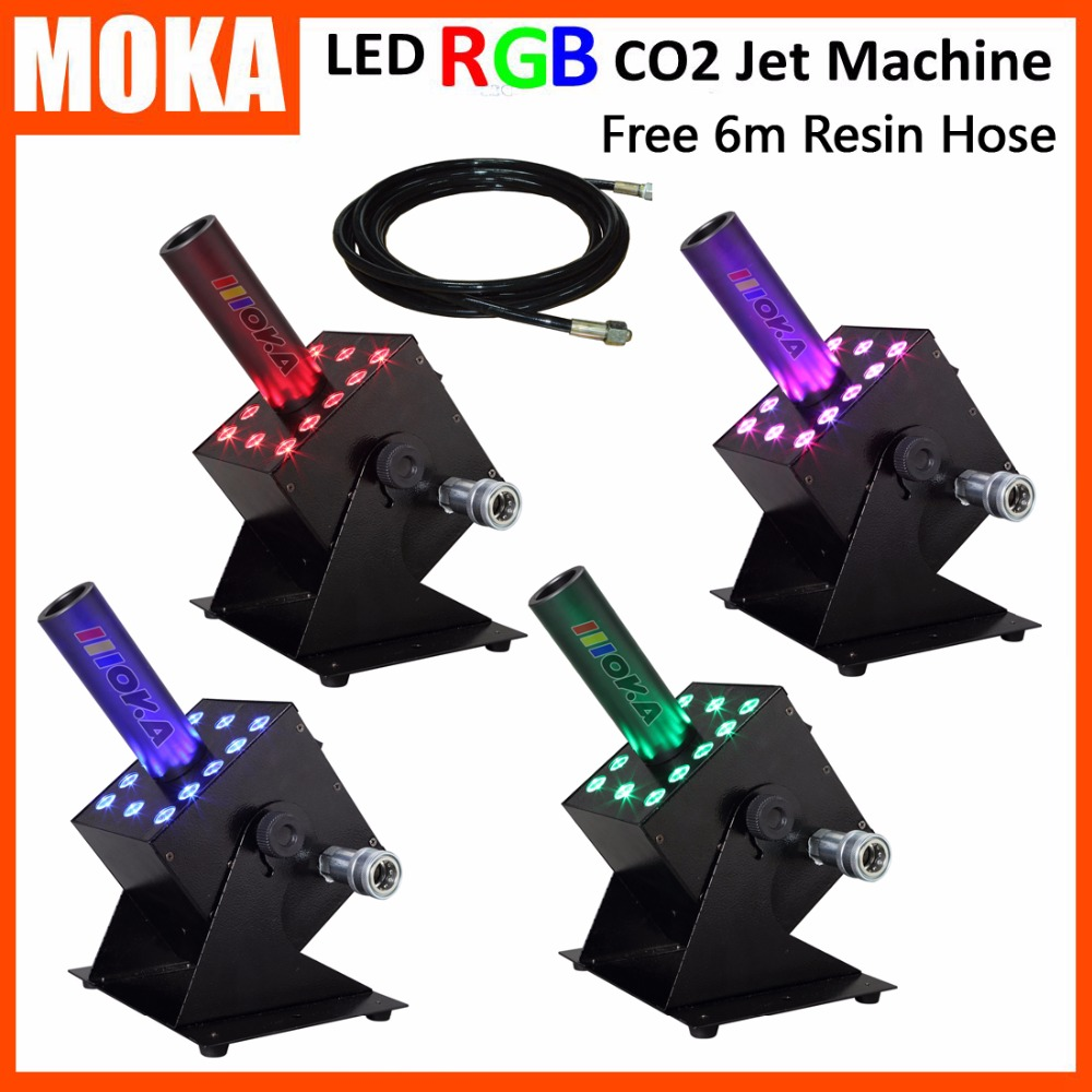 4 pcs/lot Factory Wholesales LED RGB CO2 Fog effect machine dmx512 dry ice jet machine CO2 cold fog machine With 6m hose jet