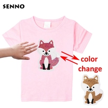 2-12Y Girls T Shirts Summer 2018 Cotton Childrens Short Sleeve Tops Casual Sequins Discoloration Tees for Kids Clothes