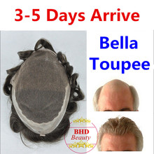 Toupee Bella–6″ Slight Wave Medium Light Mens Hair Piece Toupee Best Quality