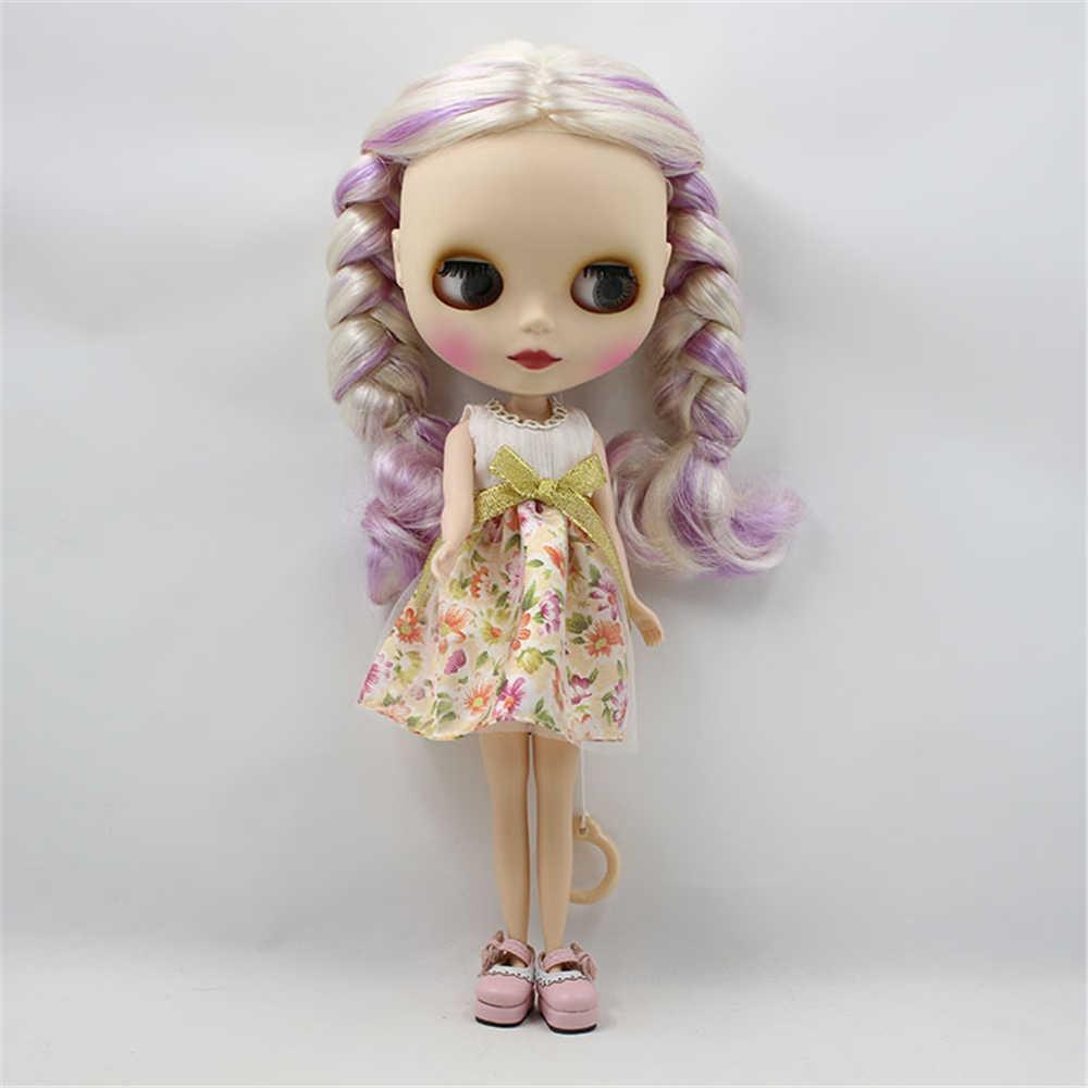 Фабрика Обнаженная кукла blyth кукла 2 косы смешанный цвет белый и фиолетовый центральной вырезать матовая лицо 4 цвета для глаз подходит для DIY