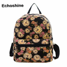 Best Deal New Women Clocks Flowers Vintage Mini Canvas Shoulder Bag Fresh Bag School Backpack Rucksack Gift wholesale