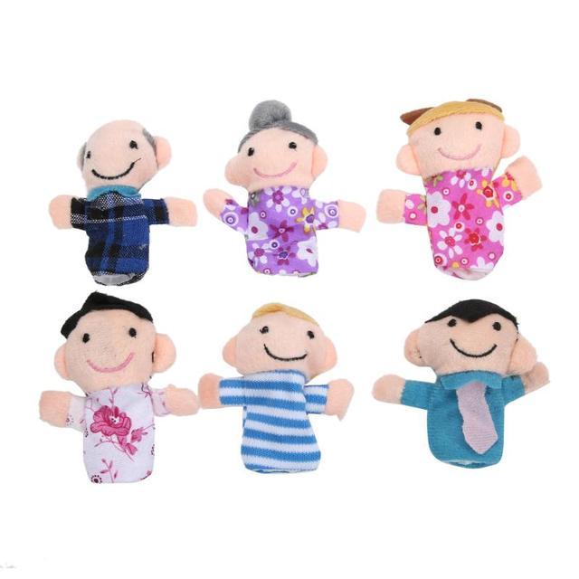 6 unids/lote dedo fantoches de dedo marionetas tela muñeca bebé de juguete historia chico Mini muñeca de La felpa juguete conjuntos