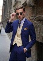 Klasik Stil İki Düğmeler 2018 Resmi Mavi Damat Smokin Groomsmen Erkek Düğün İş Uyarlanmış (Ceket + Pantolon + yelek)