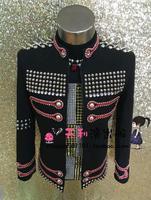 Настроить новый мужские люкс ручной работы Куртки мужские брендовые заклепки куртка пальто певец Мода сценический костюм S 4XL