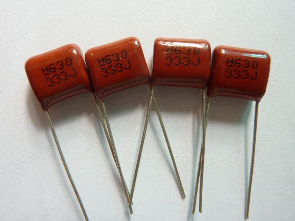 50pcs CBB 333 630V 333J CL21 0.033uF 33nF P10 Metallized Polypropylene Film Capacitor