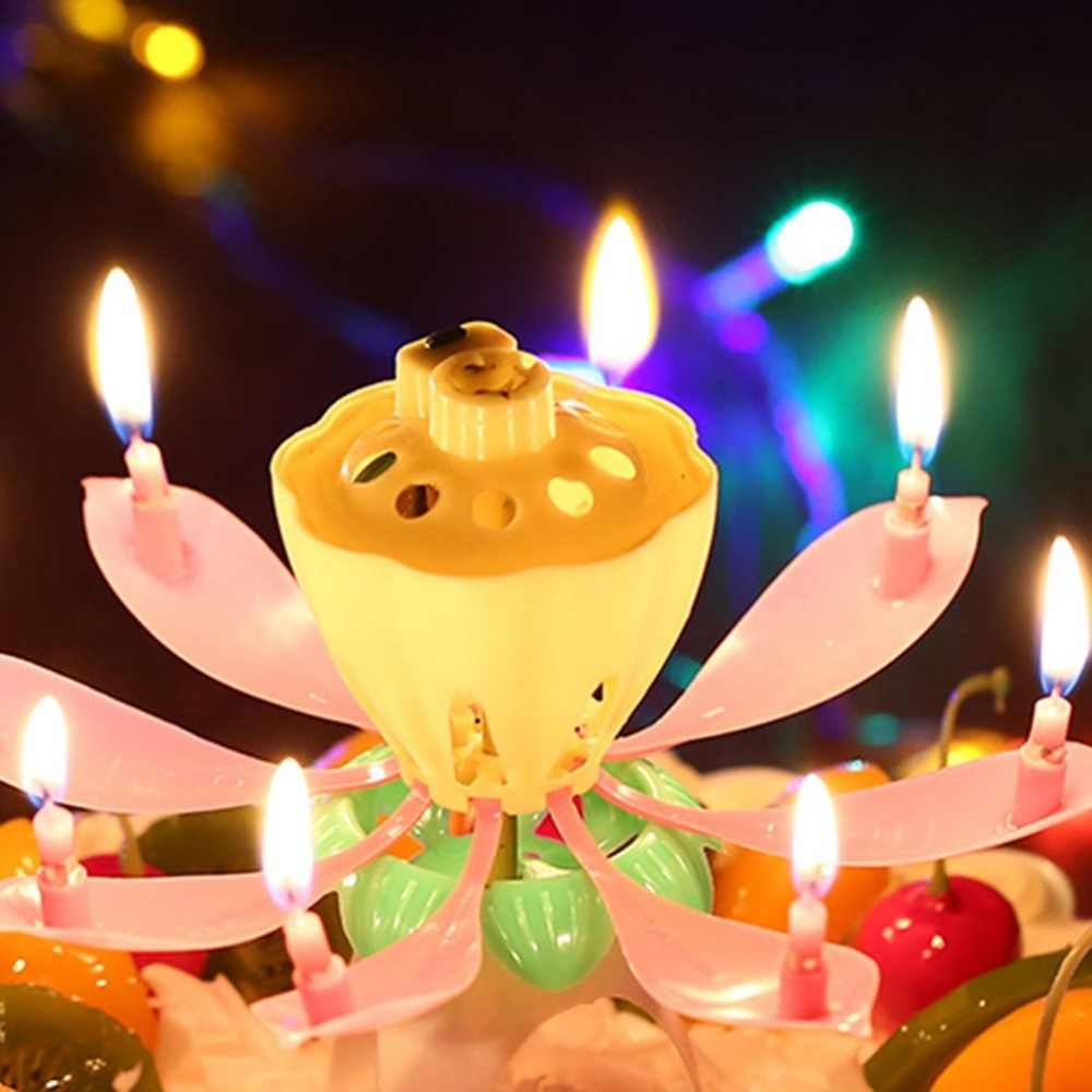 Innovative Romantic Lotus Flower Birthday Music Candle Rotating Magical Sparklers For Party Cake Decoration