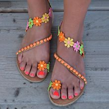 summer woman flat shoes colorful flowers bohemian ethnic style sandals