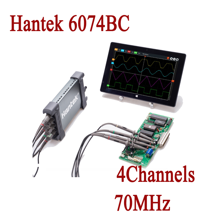 цена на Hantek Digital Oscilloscope 6074BC 1GSa/s 4 Channels 70MHz Osciloscopio Automotive USB Oscilloscopes Portable Diagnostic-Tool