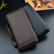 SUONAYI Men Wallets Leather Purse Fashion Wallet Clutch Bag Long Male Hand Card Holder carteira